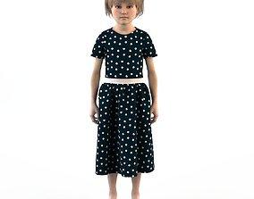 3D model Girl dress t shirt skirt Baby clothes