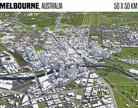 Melbourne Australia 50x50km 3D model