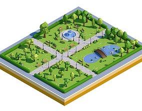 Low Poly Park 3D asset