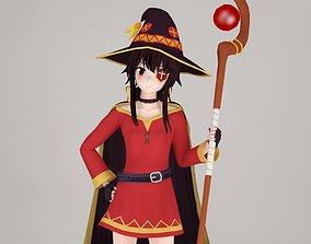 Megumin anime girl pose 01 3D