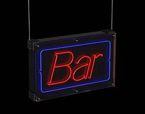 3D Red And Blue Hanging Neon Bar Sign