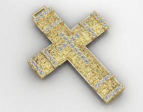 greek pendant cross 7 curch jesus inri 3D print model 2