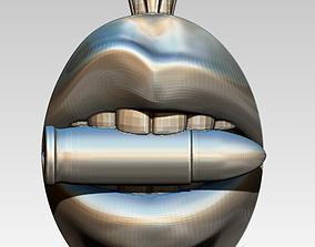 3D print model Gunster Bullet Woman Mouth Jewel Pendant
