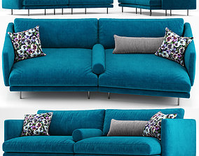 pillow Mies two seater sofa blue - Calligaris 3D