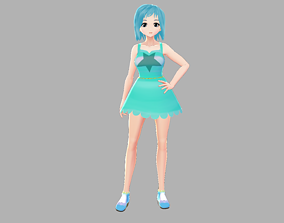 ASIAN GIRL CHEERLEADER 3D CHARACTER RIGGED T-POSE rigged 1