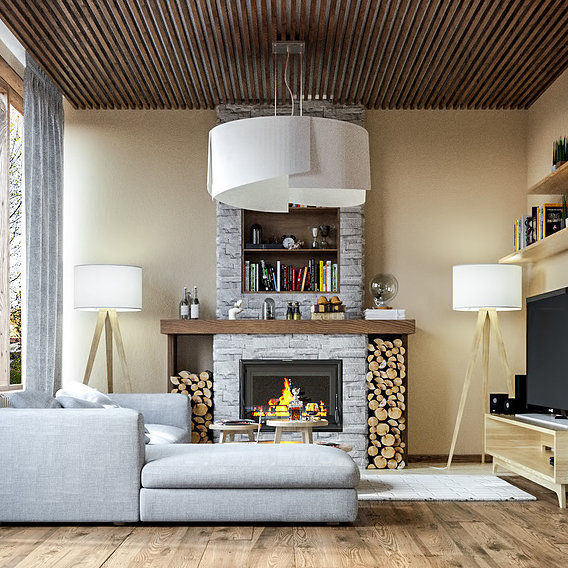 Visualization of a living room of a private house in Moscow