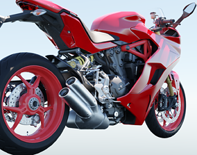 motorcycle 3D model rigged low-poly