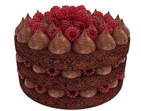 Raspberry chocolate cake 3D