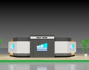 office 3D model Two Modern Reception Counter