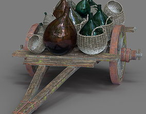 3D model Provance Wood Cart With Bottle