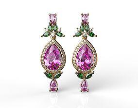 Pink sapphire and diamond halo 3D printable model