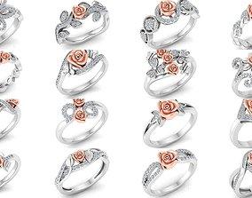 32 Women Rose Ring 3dm stl render detail