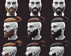 3D Beard and Undercut Low Poly