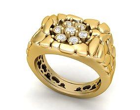 3D printable model Gents Diamond Nugget Ring 09