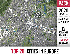 TOP 20 Cities in Europe 3D model