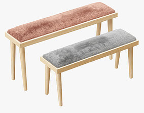 3D Sheepskin Solid Wood Bench