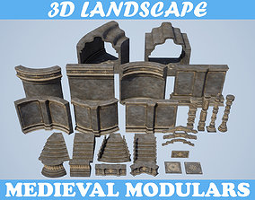 3D Low poly Medieval modular construction Pack 200525