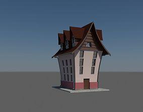hose Cartoon House 3D asset game-ready