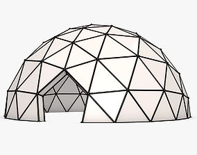 futuristic 3D model Half-Sphere Geodesic Dome