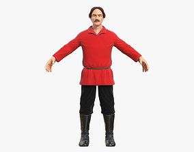 3D model VR / AR ready Worker in a Red Shirt