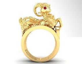 568 Lucky Gold Goat Ring 3D printable model