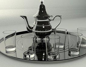 tea pot and glasses 3D