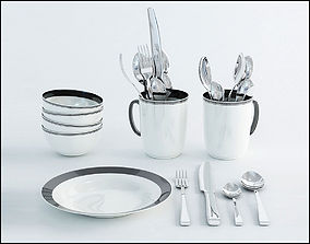 Tableware realistic 3D model