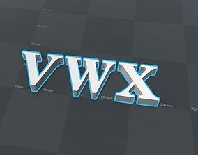 VWX letters alphabet 3D print model