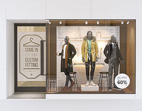 3D model Shop front with male mannequin