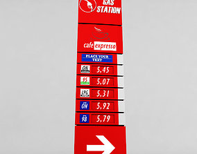 3D asset Gas station price sign totem low poly 02