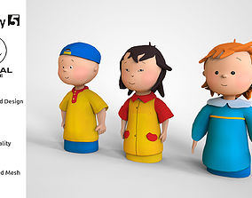 game-ready Caillou Cartoon Mascot low poly character AR 3