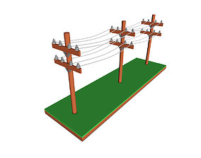 3D model Cartoon Power Lines