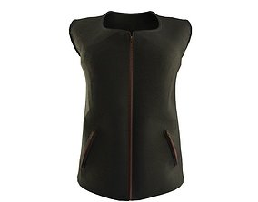 3D model women vest cowhide leather