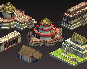 Aztec and pre-Columbian buildings and monuments 3D