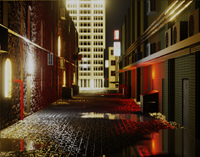 3D asset Urban Alley - Low Poly - Game Ready