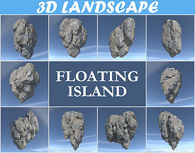 3D Low poly Floating Island Rock Pack 181129