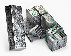 Aluminium Zinc Nickel Silver Titan Steel ingot 8 3D model
