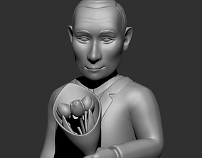 Vladimir Putin with flowers caricature 3D print model