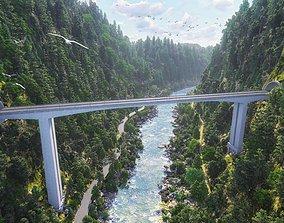 Lumion Project File Mountain Bridge 3D model