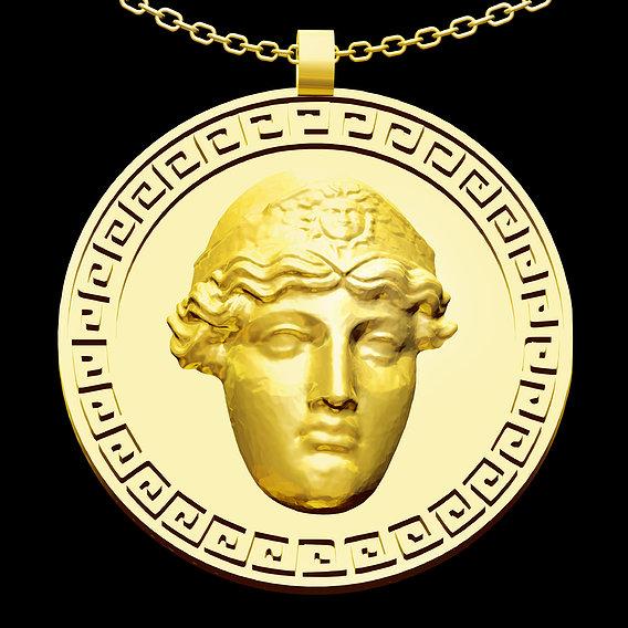 Athena Pendant jewelry Gold 3D print model 3D print model