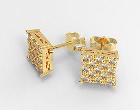 3D print model Simple diamond square stud earrings