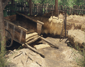 3D model Hay and Haystack Props - PBR and Game Ready