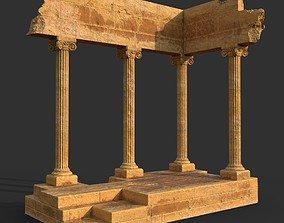3D asset Low poly Ancient Roman Ruin Construction 01 -