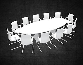 Conference table large office furniture space 3D asset