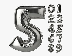 Foil air balloon numbers 03 3D