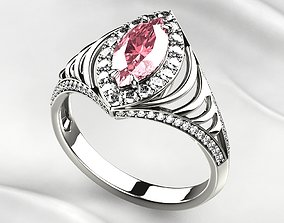 3D print model Pink Sapphire Marquise Gold Ring