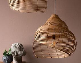 3D model Spiral Shell Shaped Rattan Ceiling Lamp