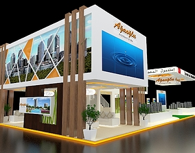 Exhibition Stand 3 Booth 30x10m 3D model