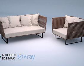 3D model Kettal Bitta 2-Seater sofa and Club