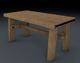 Medieval Table Chair and Bench Set 3D
